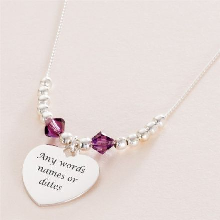Birthstone Necklace with Silver Beads and Engraving
